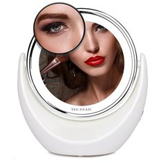 7x Magnifying LED Makeup Mirror Vanity Mirror Fogless Tabletop Swivel 360° Chromed Finish with Bright LED Lights, Wireless Portable Lighted Cosmetic Mirror for Shaving Flossing Travel Makeup 8-inch