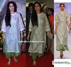 Giving the shirtdresses a break, Tabu picked a Prama by Pratima Pandey suit for her outing at the movies. Wearing her hair down as she she usually does, metallic sandals and a matching clutch finished out the look. You like?