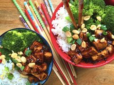 DDD – Vegan Sriracha Chicken Bowl with Broccoli Christine Elise, Sriracha Chicken, Chicken Broccoli, Vegan Friendly, Spicy, Food Porn, Cooking, Foster Dog, Ethnic Recipes