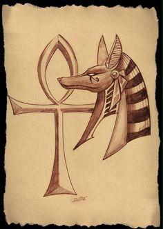 Anubis e Cruz Ankh