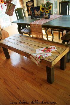 DIY farmhouse bench via Debbi Doos