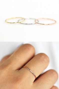 Rings Promise Minimalist Simple Diamond Ring, Rose Gold, Gold or Silver, Round Thin Ring with 2 or 3 Diamonds, Wedding Band Engagement Ring Thin Wedding Bands, Wedding Rings Simple, Custom Wedding Rings, Trendy Wedding, Simple Rings, Engagement Rings Round, Rose Gold Engagement Ring, Vintage Engagement Rings, Engagement Rings Minimalist