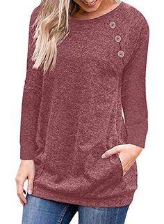 f0e95026814 Dokotoo Womens Casual Long Sleeve Pullover Sweatshirt Button Tunic Loose  Outwear Tops