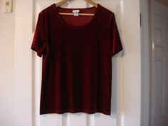 Beautiful Red Velvet Blouse Sort Sleeve Size Large by fleurzart