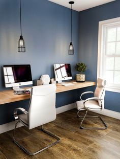 05 a contemporary home office nook with a floating desk, leather chairs and cage pendant lamps - Shelterness Office Nook, Home Office Space, Home Office Design, Home Office Decor, Home Decor, Office Designs, Office Spaces, Ikea Linnmon, Home Office Lighting