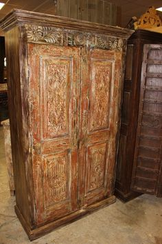 Indian Antique Hand Carved Wooden Cabinet with front 2 door one shelves for plenty of storage, this is the perfect piece for your bedroom. Antique Armoire, Antique Cabinets, Wooden Cabinets, Accent Chest, Cabinet Furniture, Double Doors, Hand Carved, Bedroom Decor, Carving