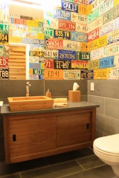What a fun way to add a little whimsy to a guest/kids bathroom.