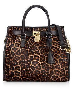 MICHAEL Michael Kors Handbag, Hamilton Leopard Haircalf Large North South Tote - Shop All - Handbags & Accessories - Macy's
