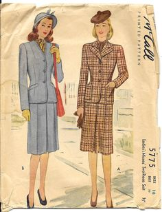 McCALL 5775 Size 18 Bust 36 Two Piece Jacket Blazer Lapel Gored Skirt Suit…