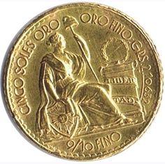 Moneda de oro 5 soles Peru 1965