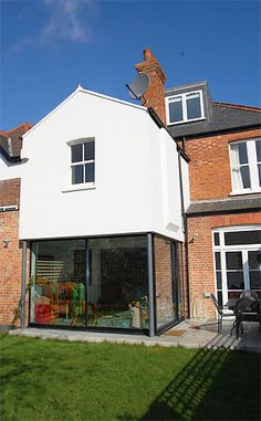 Kitchen extension from the garden. love the idea of dditional floorspace above. Kitchen extension from the garden. love the idea of dditional floorspace above. 1930s House Extension, Extension Veranda, House Extension Plans, Orangery Extension, Cottage Extension, House Extension Design, Side Extension, House Design, Extension Ideas