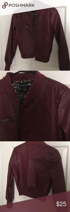Maroon Faux Leather Jacket Maroon | Cheetah print interior | Zip Up | Pockets Forever 21 Jackets & Coats
