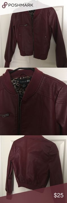 Maroon Leather Jacket Adorable leather jacket with cheetah print interior Forever 21 Jackets & Coats