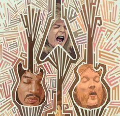 Guitar Heads by Mitch Frey, via Behance Pop Culture, Guitar, Behance, Illustration, Art, Art Background, Kunst, Illustrations, Performing Arts
