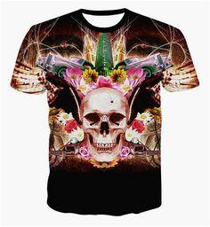 t shirt printing 3d flowers skull t shirt clothing hip hop t-shirt painting tee shirt top