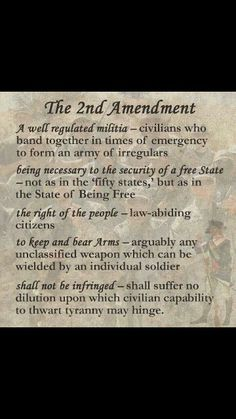 Just alittle better understanding of what the 2nd amendment means.