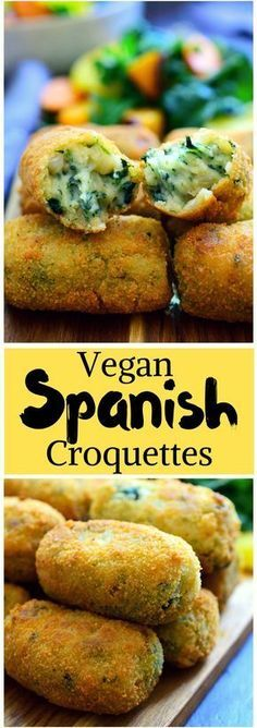 These Spanish spinach croquettes are a typical tapa in bars all around Spain. They're simple to make, packed with flavour and make a great vegan party finger food or appetizer!You should definitely try these vegan Spanish croquettes. Veggie Recipes, Whole Food Recipes, Cooking Recipes, Healthy Recipes, Dinner Recipes, Finger Food Recipes, Cooking Tips, Dinner Ideas, Party Recipes
