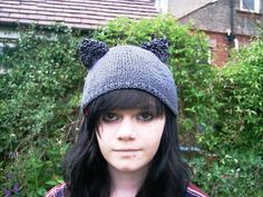 Items similar to Cat hat with ears Hand knitted kitty beanie Grey black or purple on Etsy Ear Hats, Ears, Kitty, Halloween, Trending Outfits, Grey, Unique Jewelry, Handmade Gifts, Vintage