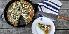 This asparagus frittata with feta, pine nuts and mint is an excellent way of using up leftovers, and provides a delicious option for breakfast or brunch.