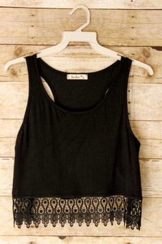 Beautiful black crop top tank with a lace hem