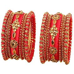 "NEW! Touchstone ""Silk Thread Bangle Collection"" Indian Bollywood Hot Red Silk Thread Kundan Look Yellow Color Beads Metal Bangle Bracelets Designer Jewelry. Set of 18 In Antique Gold Tone For Women."