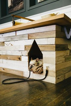 Dog House, built into the hearth. Brilliant idea for a small house. Add hooks to counter for leashes House Made, My House, Built In Dog Bed, 1001 Palettes, Cool Dog Houses, Niches, Little Cabin, House Built, Cabana