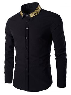 Golden Leaves Embroidered Shirt Collar Long Sleeves Shirt For Men Shirt Sleeves, Long Sleeve Shirts, Casual Shirts For Men, Men Casual, Moda Formal, Shirt Embroidery, Embroidered Shirts, African Men Fashion, Sammy Dress
