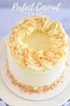 Perfect Coconut Cake ~ This coconut cake is insanely moist and tender! You will love this recipe because it is soft and fluffy and full of coconut flavor. ~ Desserts Soft and Moist Perfect Coconut Cake ~ two sugar bugs Best Cake Recipes, Dessert Recipes, Coconut Cake Decoration, Wedding Cake Flavors, Flavors Of Cake, Different Cake Flavors, Birthday Cake Flavors, Cake Pops, Savoury Cake