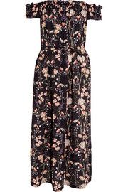Lydia off-the-shoulder floral-print silk dress