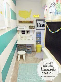 Closet turned kids homework station, art studio