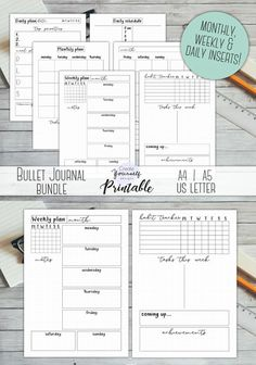Nice starter kit to try out bullet journaling. Bullet journal starter kit - planner insert, weekly planner, daily planner, monthly planner, bullet journal bundle, pre made journal pages, printable bujo bundle with habit tracker, monthly, daily and weekly spreads. Instant download #affiliate #bulletjournalcollection #bujoprintables #planneraddict #organizer #journal #habittracker