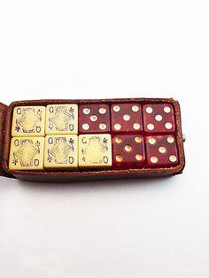 Rumpp Leather Case 5 Red Bakelite Prystal 5 Poker Dice