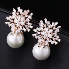 Women's Jewelry Zircon White/Rose Gold Plated Stud Earrings Pearl Drop Dangle #Unbranded #DropDangle