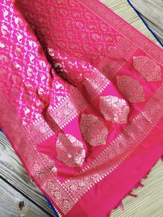 Banarasi Dupatta with Peacock Design in Magenta and Gold Indian Fashion, Women's Fashion, Peacock Design, Neck Design, Saris, Indian Sarees, Sarees Online, Princess Diana, Types Of Fashion Styles