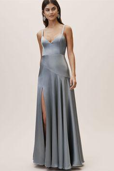 Dusky Blue Satin Bridesmaid Dress Satin Dresses 33e3ed906b5c