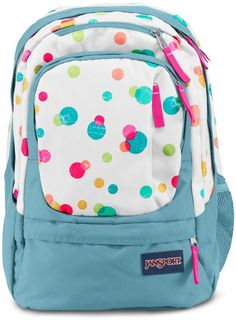 JanSport Air Cure Backpack Pink Pansy Confetti Dots School Bag Girl #JanSport  #Backpack $55