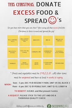 Secondsguru.com   Food collection drive on Dec 11-12, 2015 at Rivery Valley and Tanjong Rhu, Singapore