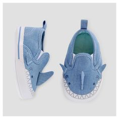 Baby Boys' Shark Slip On Sneakers - Baby Cat & Jack Blue 6-9 Months, Infant Boy's, Size: 6-9 M