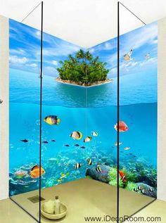 3D Wallpaper Undersea Fish Island Wall Murals Bathroom Decals Wall Art Print Home Office Decor