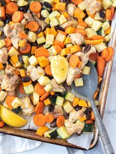 Sheet Pan Mediterranean Chicken and Veggies (AIP, Paleo, Paleo Chicken Soup, Fried Chicken Burger, Paleo Chicken Recipes, Veggie Recipes, Paleo Recipes, Real Food Recipes, Paleo Dinner, Dinner Recipes, Sheet Pan Suppers