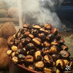 Who's craving some hot fresh yummy roasted chestnuts! Roasted Chestnuts, Lebanese Recipes, Lebanon, Cravings, Stuffed Mushrooms, Mat, Fresh, Vegetables, Desserts