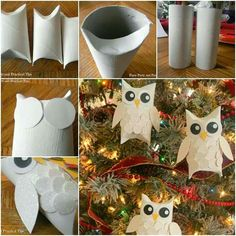 DIY. Christmas Ornament. Owl.Upcycle Toilet Paper Rolls.