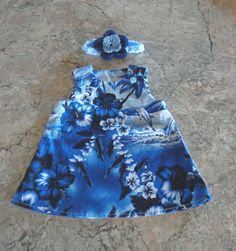 Blue Dolphin Hawaiian  Baby Dress & Headband 0-3 mo. Fits Reborns Dolls too #Handmade #handmade