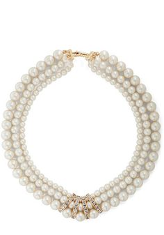Pearls Just Wanna Have Fun Necklace - Cream, Gold, Solid, Pearls, Rhinestones, Luxe, Cocktail, Bride, Boudoir, Holiday Party, Top Rated
