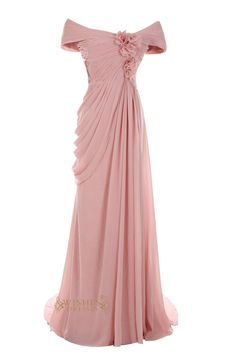 A-line formal chiffon sweep train mother of the bride dress with ruching and pick up details,while the front with flowers and button embellishment at the back.t