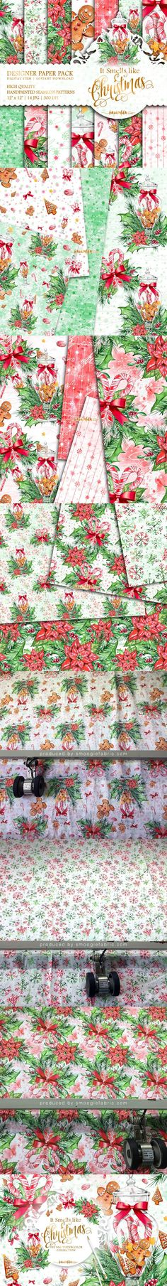 Classic Christmas Patterns. Watercolor Flowers. $8.00