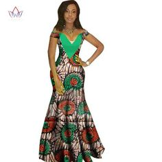 African Women Dashiki Print Bazin V-Neck Long Dress African Fashion Designers, African Men Fashion, African Dresses For Women, Africa Fashion, African Attire, African Wear, African Fashion Dresses, African Women, Womens Fashion