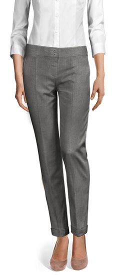 Design your Custom Made to Measure womens dress pants at Sumissura. High waist or normal, Pleated, slim fit or wide-leg, wool or linen pants. Cuffed Pants, Linen Pants, Ankle Length, Dress Pants, Custom Made, Capri Pants, Slim, Legs, Grey