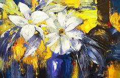 Blue Vase  Modern Art oil palette knife on canvas by spirosart
