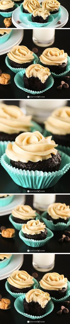 These CHOCOLATE CUPCAKES with PEANUT BUTTER FROSTING, made from scratch, are so moist and delicious! Now you can have bakery quality cupcakes right at home! This recipe is a keeper!